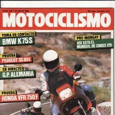 Coches y Motocicletas: REVISTA MOTOCICLISMO Nº 955 AÑO 1986. PRUEBA: HONDA VFR 750 F. BMW K 75 S. PEUGEOT SC 80 L.. Lote 161498681