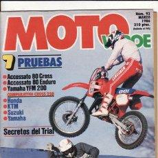 Coches y Motocicletas: REVISTA MOTO VERDE Nº 92 AÑO 1986. COMPARATIVA: HONDA CR 250, KTM SX 250, SUZUKI RM 250 Y YAMAHA YZ . Lote 109354470