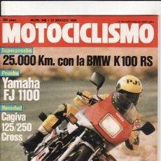 Coches y Motocicletas: REVISTA MOTOCICLISMO Nº 846 AÑO 1984. PRUEBA: BMW K 100 RS. YAMAHA FJ 1100. CONT: CAGIVA 125/250.. Lote 183586168