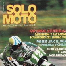 Coches y Motocicletas: REVISTA SOLO MOTO ACTUAL Nº 153 AÑO 1978. PRUEBA: FANTIC 125. PRUEBA: BENELLI 354 SPORT.. Lote 24590731