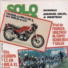 Coches y Motocicletas: REVISTA SOLO MOTO ACTUAL Nº 241 AÑO 1980. PRUEBA: MONTESA ENDURO 360 H6.. Lote 75924517