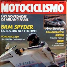 Coches y Motocicletas: MOTOCICLISMO Nº 1135 NOV 1989, SUZUKI BRM SPYDER, HONDA NX 250, SALON MILAN Y PARIS, RICARDO TORMO. Lote 18887646