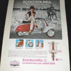 Coches y Motocicletas: ANTIGUO ANUNCIO DE MOTO LAMBRETTA - SCOOTERLINEA - AÑOS 60 - MIDE 35 X 25 CMS.. Lote 27442145