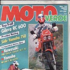 Coches y Motocicletas - REVISTA MOTO VERDE Nº 145 AÑO 1990. PRUEBA: GILERA RC 600. PRUEBA RACING: SIDE YAMAHA 750. - 23401447