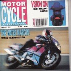 Coches y Motocicletas: MAGAZINE MOTR CYCLE INTERNACIONAL.PRUEBA: SUZUKI GSX R 750. COMPARATIVA: SUZUKI GSX 1100G Y TRIUMPH . Lote 23418577