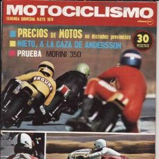 Coches y Motocicletas: REVISTA MOTOCICLISMO Nº 2ª QUINCENA MAYO AÑO 1974. PRUEBA: MORINI 350.. Lote 23666973