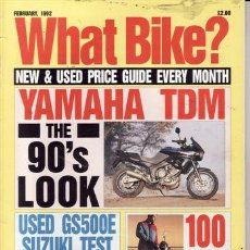 Coches y Motocicletas: REVISTA WHAT BIKE AÑO 1991. PRUEBA: YAMAHA TDM. PRUEBA: SUZUKI GS 500 E. PRUEBA: MORINI EXCALIBUR. . Lote 23680862