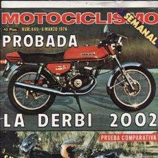 Coches y Motocicletas: REVISTA MOTOCICLISMO Nº 449 AÑO 1976. PRUEBA: DERBI 2002. COMP: HONDA 1000, BMW R 90 S Y GUZZ 1100.. Lote 52657820