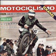 Coches y Motocicletas: REVISTA MOTOCICLISMO Nº 452 AÑO 1976. PRUEBA: LAVERDA 750. PRUEBA: LAVERDA 1000. . Lote 23727501