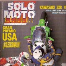 Coches y Motocicletas: REVISTA SOLO MOTO Nº 726 ABRIL 1990 KAWASAKI ZXR 750 APRILIA RED ROSE 125 HONDA WALLAROO GRAN PREMIO. Lote 24321823