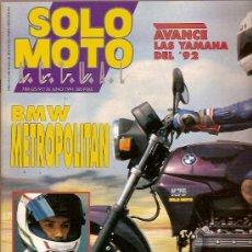 Coches y Motocicletas: REVISTA SOLO MOTO Nº 788 JUNIO 1991 BMW METROPOLITAN LUCA CADALORA. Lote 24980816