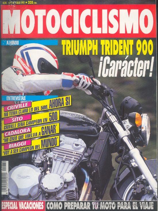 MOTOCICLISMO 1272 JUL 1992,TRIUMPH TRIDENT 900, CRIVILLE, SITO PONS, CADALORA, BIAGGI, PEUGEOT SV (Coches y Motocicletas - Revistas de Motos y Motocicletas)