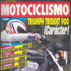 Coches y Motocicletas: MOTOCICLISMO 1272 JUL 1992,TRIUMPH TRIDENT 900, CRIVILLE, SITO PONS, CADALORA, BIAGGI, PEUGEOT SV. Lote 29004916