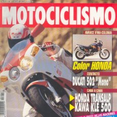 Coches y Motocicletas: MOTOCICLISMO 1282 SEP 1992,BIMOTA BIPOSTO, DUCATI 502 MONO, HONDA TRANSALP/KAWA KLE 500, SUZUKI GSX. Lote 29005402