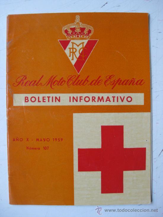 REAL MOTO CLUB DE ESPAÑA, BOLETIN INFORMATIVO - AÑO 1959 - Nº 107 (Coches y Motocicletas - Revistas de Motos y Motocicletas)