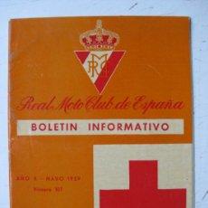 Coches y Motocicletas: REAL MOTO CLUB DE ESPAÑA, BOLETIN INFORMATIVO - AÑO 1959 - Nº 107. Lote 30736237