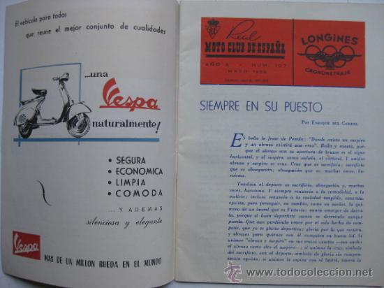 Coches y Motocicletas: REAL MOTO CLUB DE ESPAÑA, BOLETIN INFORMATIVO - AÑO 1959 - Nº 107 - Foto 2 - 30736237