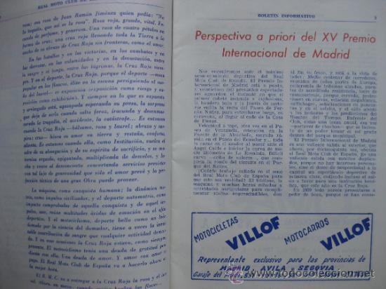 Coches y Motocicletas: REAL MOTO CLUB DE ESPAÑA, BOLETIN INFORMATIVO - AÑO 1959 - Nº 107 - Foto 3 - 30736237