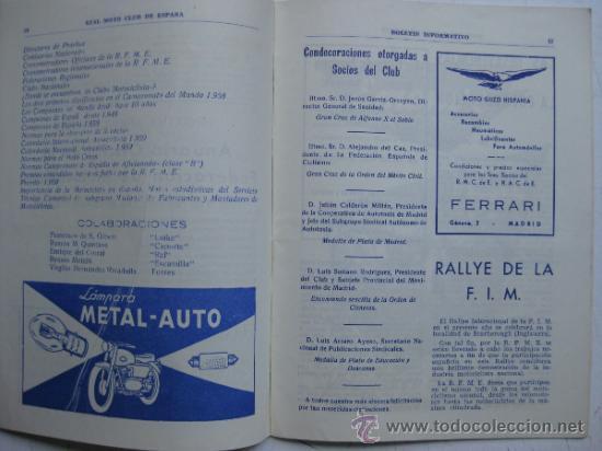Coches y Motocicletas: REAL MOTO CLUB DE ESPAÑA, BOLETIN INFORMATIVO - AÑO 1959 - Nº 107 - Foto 6 - 30736237