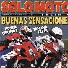 Carros e motociclos: REVISTA SOLO MOTO TREINTA Nº 190 AÑO 1998. PRUEBA: HONDA CBR 600 F (99).YAMAHA YZF R6. HONDA XL 1000. Lote 32041739
