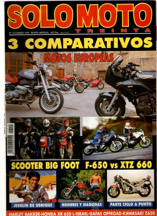SOLO MOTO TREINTA Nº 145 (03-1995) COMPRATIVOS DE MOTOS EUROPEAS- SCOOTER BIG FOOT (Coches y Motocicletas - Revistas de Motos y Motocicletas)
