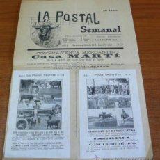 Coches y Motocicletas: REVISTA TOROS-DEPORTES-TEATRO. LA POSTAL SEMANAL, AÑO 1, N.º 19. CON DOS POSTALES. 1913.. Lote 33925058