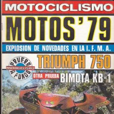 Coches y Motocicletas: REVISTA MOTOCICLISMO EXTRA OCTUBRE 1978 PRUEBA BIMOTA KB1. Lote 36486714