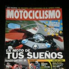 Coches y Motocicletas: MOTOCICLISMO Nº 1813 - NOV 2002 - HONDA CBR 600 SS / DUCATI MONSTER 1000S / DUCATI ST4 ABS. Lote 217850182