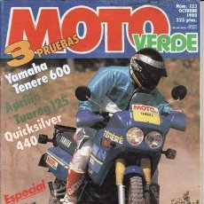 Coches y Motocicletas: REVISTA MOTO VERDE Nº 123 AÑO 1988. PRUEBA: APRILIA TUAREG 125. YAMAHA XT 600 Z TÉNÉRÉ.. Lote 179116170