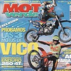 Coches y Motocicletas: REVISTA MOTO VERDE Nº 294 AÑO 2003. COMPARATIVA: HUSQVARNA TE 250, KTM EXC 250 Y YAMAHA WR 250. HUSA. Lote 140546132