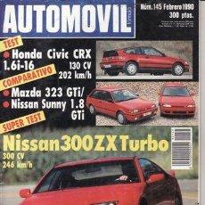 Coches y Motocicletas: REVISTA AUTOMOVIL Nº 145 AÑO 1990. PRU:HONDA CIVIC CRX 1.6I 16.NISSAN 300 ZX TURBO.CO: MAZDA 323 GTI. Lote 37472095