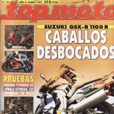 Voitures et Motocyclettes: REVISTA TOP MOTO Nº 52 AÑO 1995.PRU:SUZUKI 1100 GSX R.HONDA REVEL 125 CA.TYPHOON 80.APRILIA RS 125.. Lote 38598266