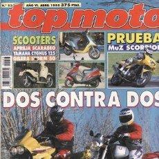 Coches y Motocicletas: REVISTA TOP MOTO Nº 53 AÑO 1995. PRUEBA: CAGIVA RIVER 600. MZ SKORPIO SPORT. MZ SKORPIO TOUR.. Lote 38598335