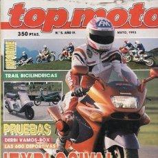 Voitures et Motocyclettes: REVISTA TOP MOTO Nº 5-IV AÑO 1993. PRUEBA: APRILIA RX 125. KAWASAKI ZZR 1100. YAMAHA YZF 750 R SP. H. Lote 38599213