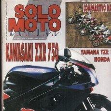 Coches y Motocicletas: REVISTA SOLO MOTO ACTUAL Nº 864 AÑO 1992. PRU: KAWASAKI ZXR 750. YAMAHA TZR 125. COMP: HONDA CR 250. Lote 38842298