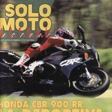Coches y Motocicletas: REVISTA SOLO MOTO ACTUAL Nº 822 AÑO 1992.PRU: HONDA CBR 900 RR. DERBI VARIANT TOP COMP:DERBI VIVO 75. Lote 195008727