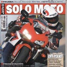 Coches y Motocicletas: REVISTA SOLO MOTO ACTUAL Nº 1437 AÑO 2003.PRU: DUCATI MONSTER 620.HONDA CBR 1000 RR.KAWASAKI ZX 10R.. Lote 124391774