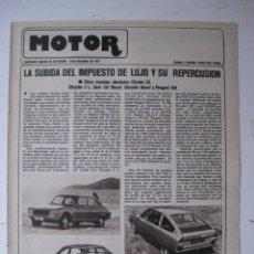 Coches y Motocicletas: MOTOR - SUPLEMENTO ESPECIAL DE AS COLOR MOTOS Y COCHES - AÑO 1977 - 13 DICIEMBRE. Lote 39312383