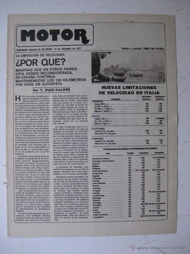 MOTOR - SUPLEMENTO ESPECIAL DE AS COLOR MOTOS Y COCHES - AÑO 1977 - 27 DICIEMBRE (Coches y Motocicletas - Revistas de Motos y Motocicletas)