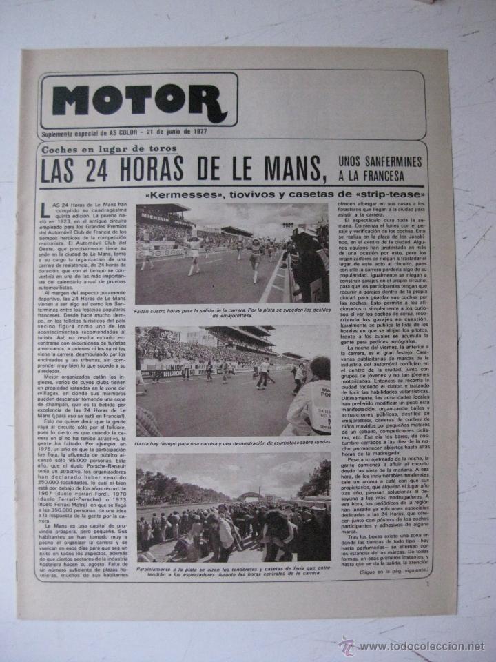 MOTOR - SUPLEMENTO ESPECIAL DE AS COLOR MOTOS Y COCHES - AÑO 1977 - 21 JUNIO (Coches y Motocicletas - Revistas de Motos y Motocicletas)