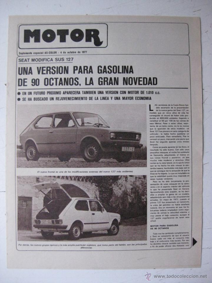 MOTOR - SUPLEMENTO ESPECIAL DE AS COLOR MOTOS Y COCHES - AÑO 1977 - 4 OCTUBRE (Coches y Motocicletas - Revistas de Motos y Motocicletas)