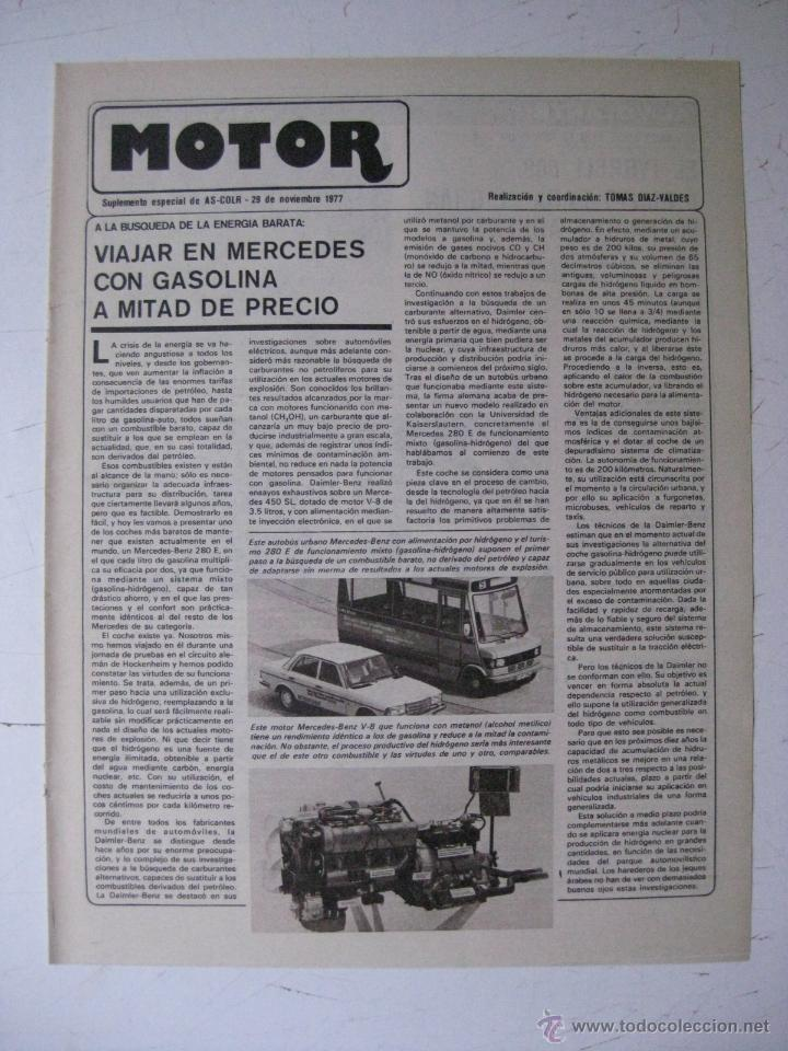 MOTOR - SUPLEMENTO ESPECIAL DE AS COLOR MOTOS Y COCHES - AÑO 1977 - 29 NOVIEMBRE (Coches y Motocicletas - Revistas de Motos y Motocicletas)