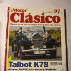 Coches y Motocicletas: REVISTA MOTOR CLASICO Nº97 FEBRERO 1996 TALBOT K78 BMW R75 JACKIE STEWART. Lote 39791196