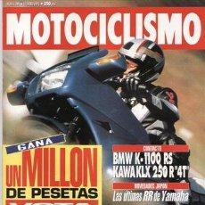 Coches y Motocicletas: REVISTA MOTOCICLISMO Nº 1299 AÑO 1993. PRUEBA: BMW K 1100 RS. KAWASAKI KLX 250. YAMAHA OW 01 PIROVAN. Lote 40715802