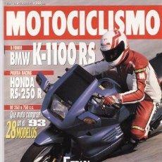 Coches y Motocicletas: REVISTA MOTOCICLISMO Nº 1301 AÑO 1993. PRU.BMW K 1100 RS. HONDA RS 250 R. COMP:APRILIA CLIMBER 280 R. Lote 41264283