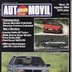 Coches y Motocicletas: REVISTA AUTOMOVIL Nº 79 AÑO 1984.PRU:LANCIA DELTA HF TURBO.ROLLS ROYCE SILVER WRAITH,FORD FIESTA XR2. Lote 42699212