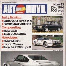 Coches y Motocicletas: REVISTA AUTOMOVIL Nº 83 AÑO 1984. PRU: SAAB 900 T16 S. RACING: FERRARI 308 GR.B. COMP: BMW BMW 323 I. Lote 42699311