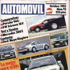 Coches y Motocicletas: REVISTA AUTOMOVIL Nº 93 AÑO 1985. PRUEBA: MERCEDES 300E. FORD MAYA GIUGIARO. COMP: PORSCHE 944. Lote 42699523