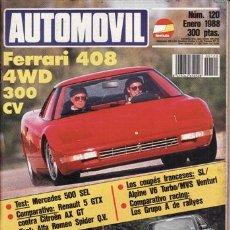 Coches y Motocicletas: REVISTA AUTOMOVIL Nº 120 AÑO 1988. PRUEBA: FERRARI 408 4WD. MERCEDES 500 SEL. ALFA ROMEO SPIDER.. Lote 42699897
