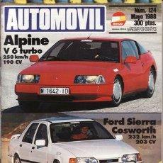 Coches y Motocicletas: REVISTA AUTOMOVIL Nº 124 AÑO 1988. PRU: FORD SIERRA COSWORT.RENAULT ALPINE V6 TURBO.SANTANA 2500 DC.. Lote 45025989